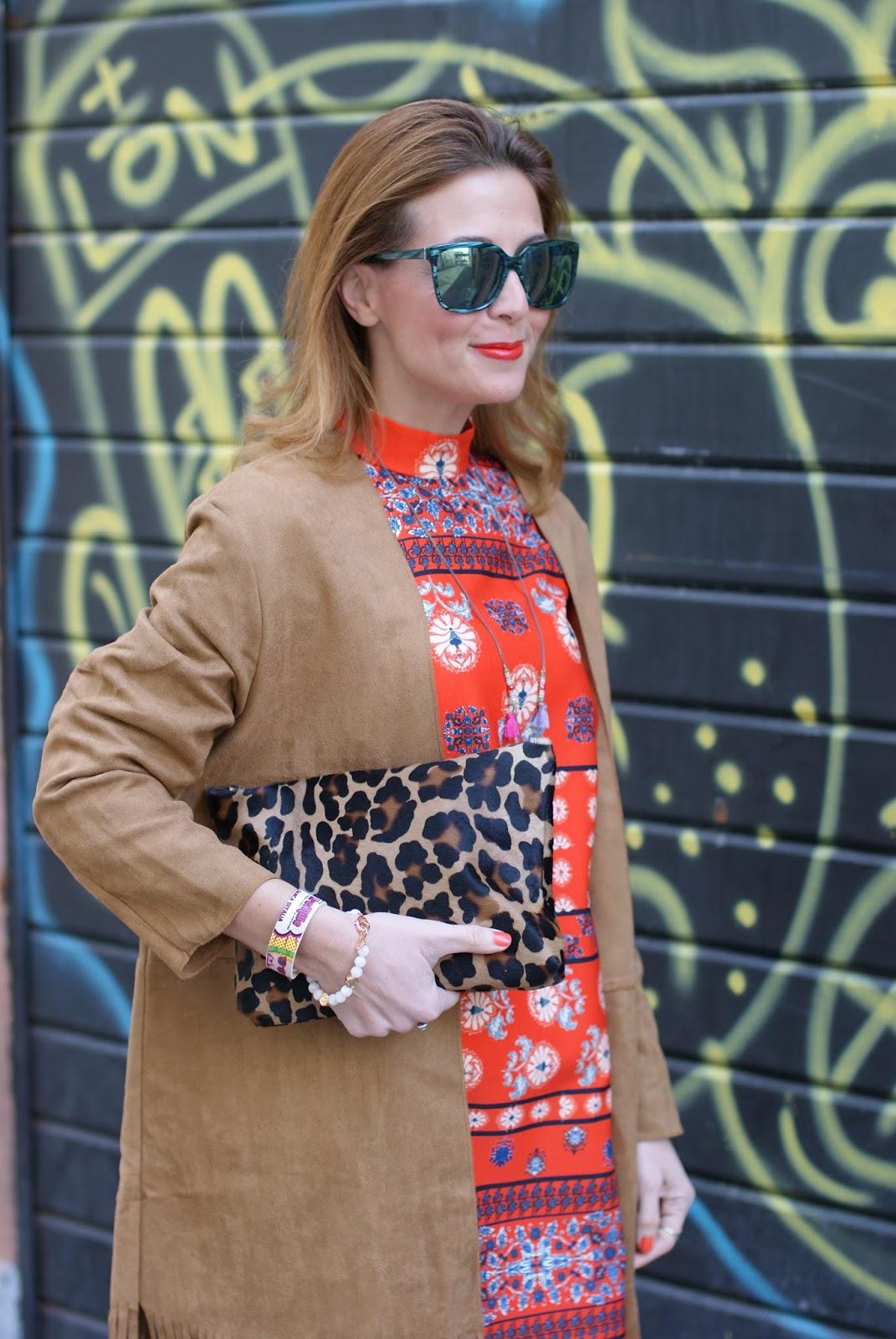 Suedette fringed coat from Yoins and Asos orange folk dress, Millelire POP bracelet on Fashion and Cookies fashion blog, fashion blogger style