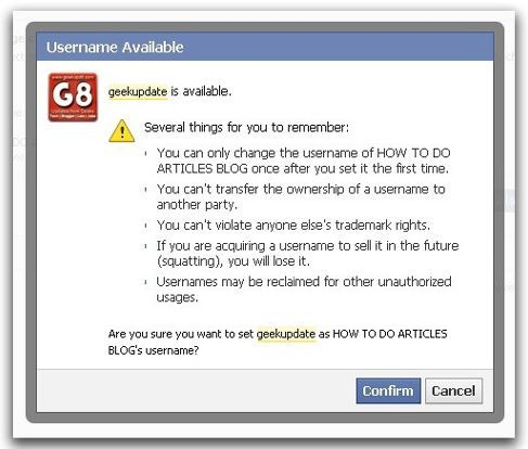 facebook page username change policy