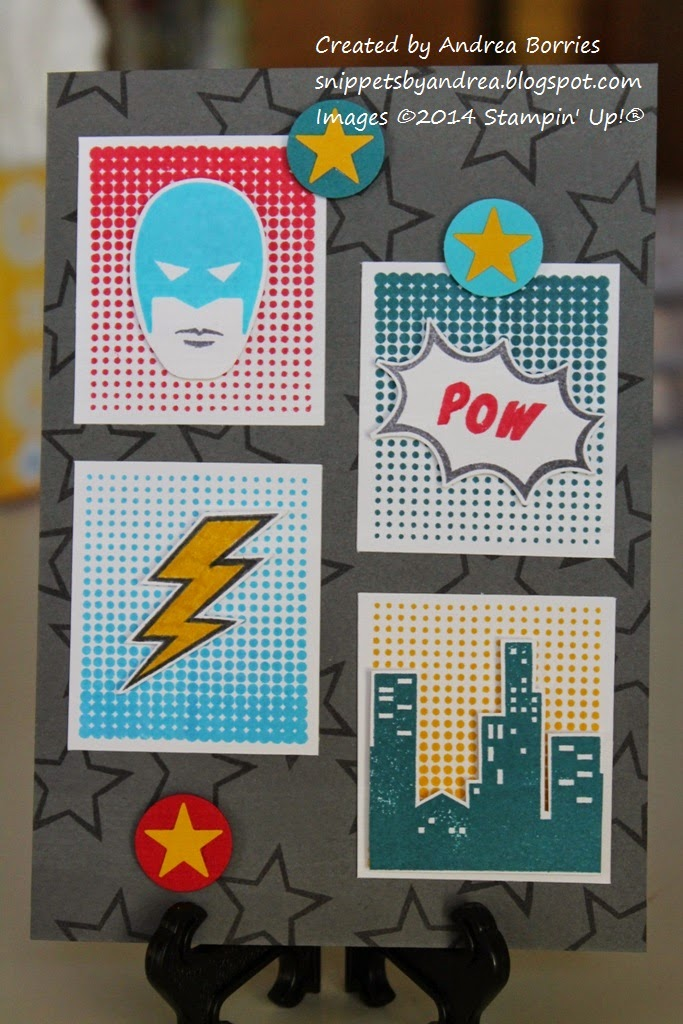 "Birthday card with starry background and retro comic-style images: superhero face, lightning bolt, ""pow!"" and skyline."