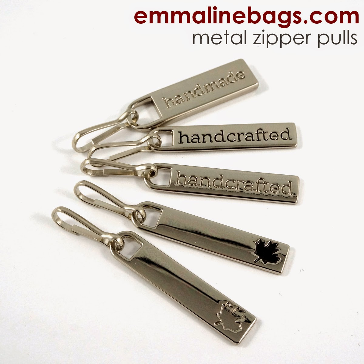 Metal zipper pulls for bags and purses.