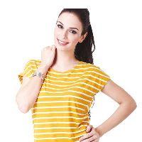 Kaos lengan pendek kuning salur