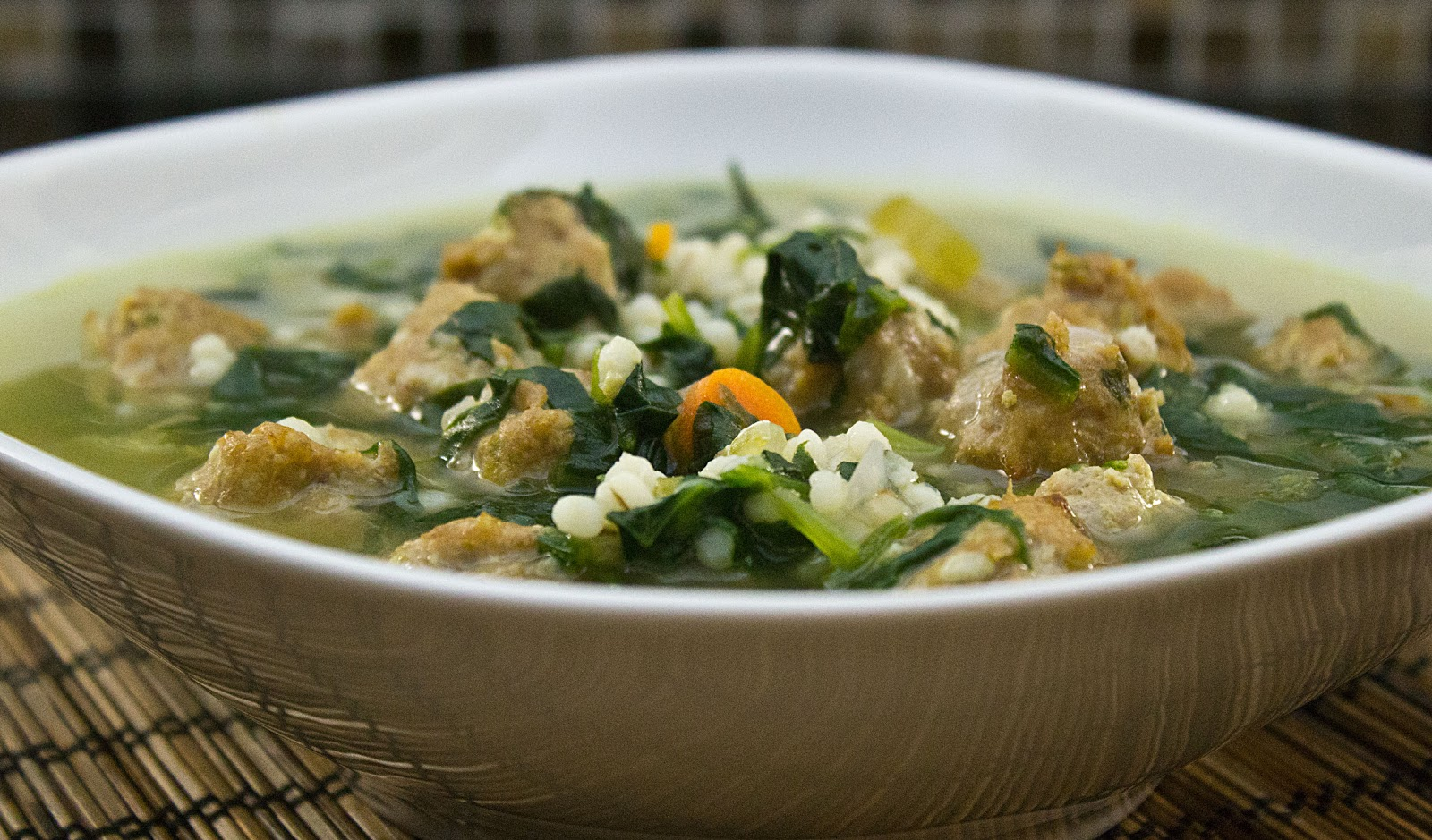 italian wedding soup with spinach and barley