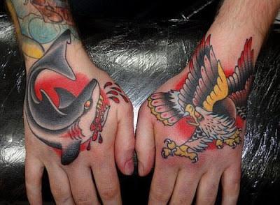 Tatuaje Tiburón y águila en las manos