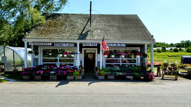 farm stand in spring with hanging floral baskets and farm in the background