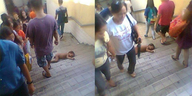 Pada Kaga Mikir! Bayi Tergeletak di Tangga, Orang Malah Pada Cuek, Kampret!