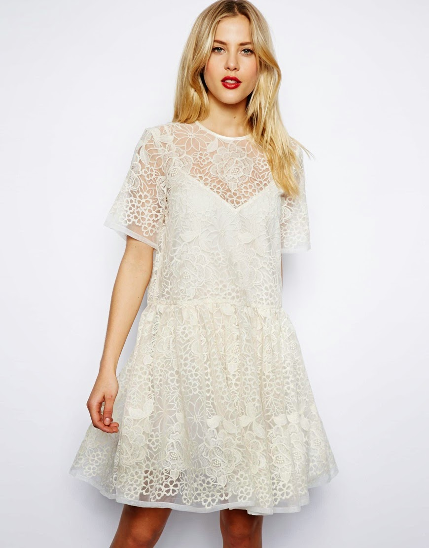 large white lace dress