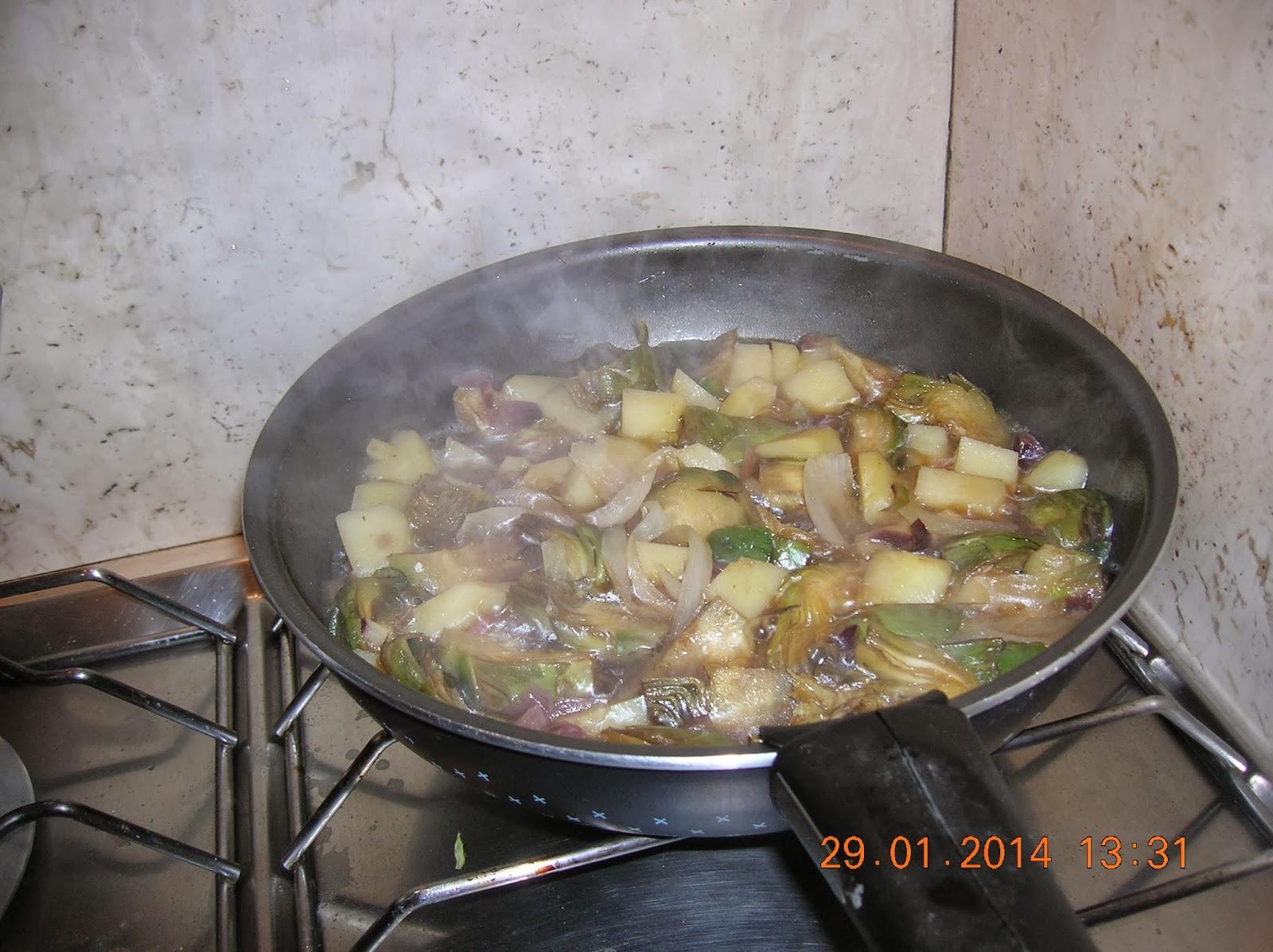 patate con carcioffi - pizzaiola di  filetti di platessa  con latte di soia