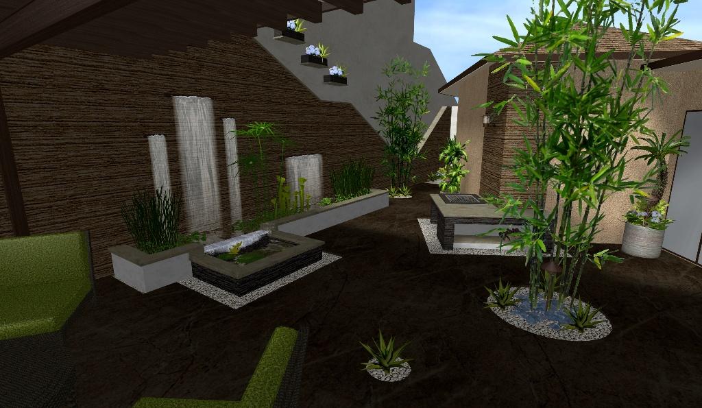 El patio caf un espacio de dise o minimalista elegante y exquisito con jard n acu tico zen - Fuentes de pared modernas ...