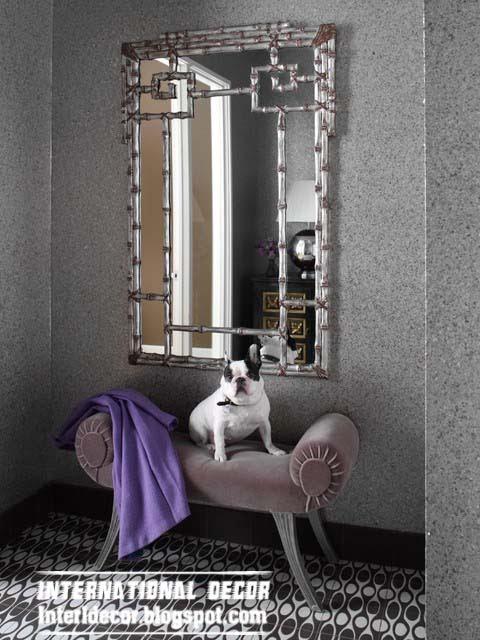 Ottoman and banquette, silver mirror