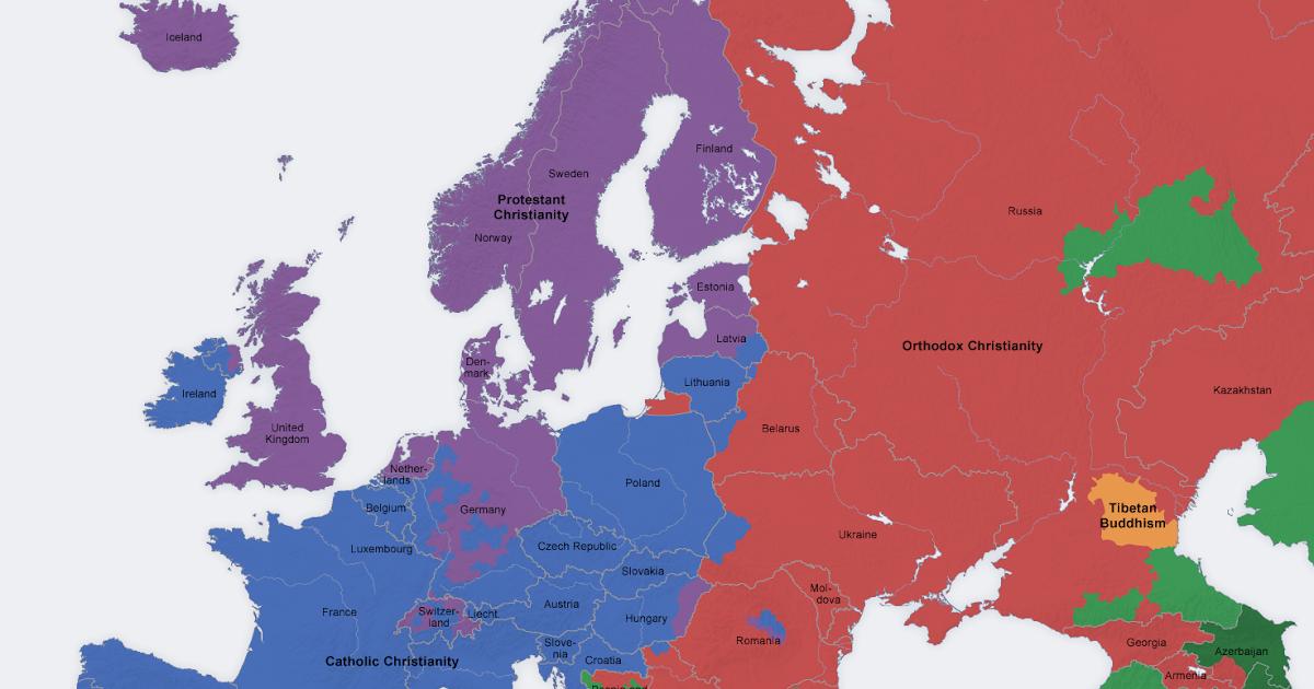 Thought Mash Religions Explained - Europe religion map