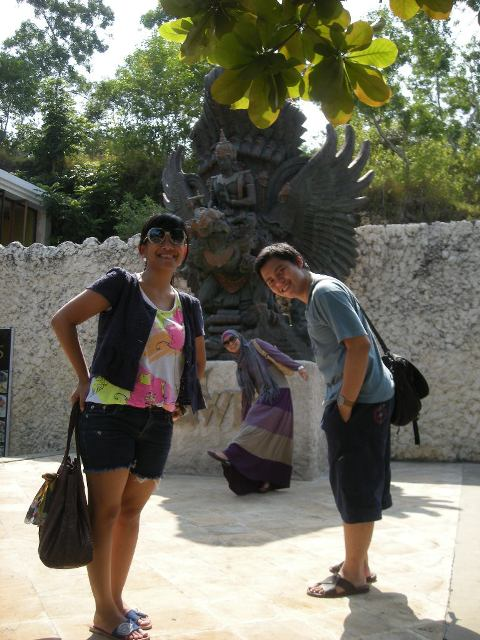 behind us is the final design of Garuda Wisnu Kencana statue.