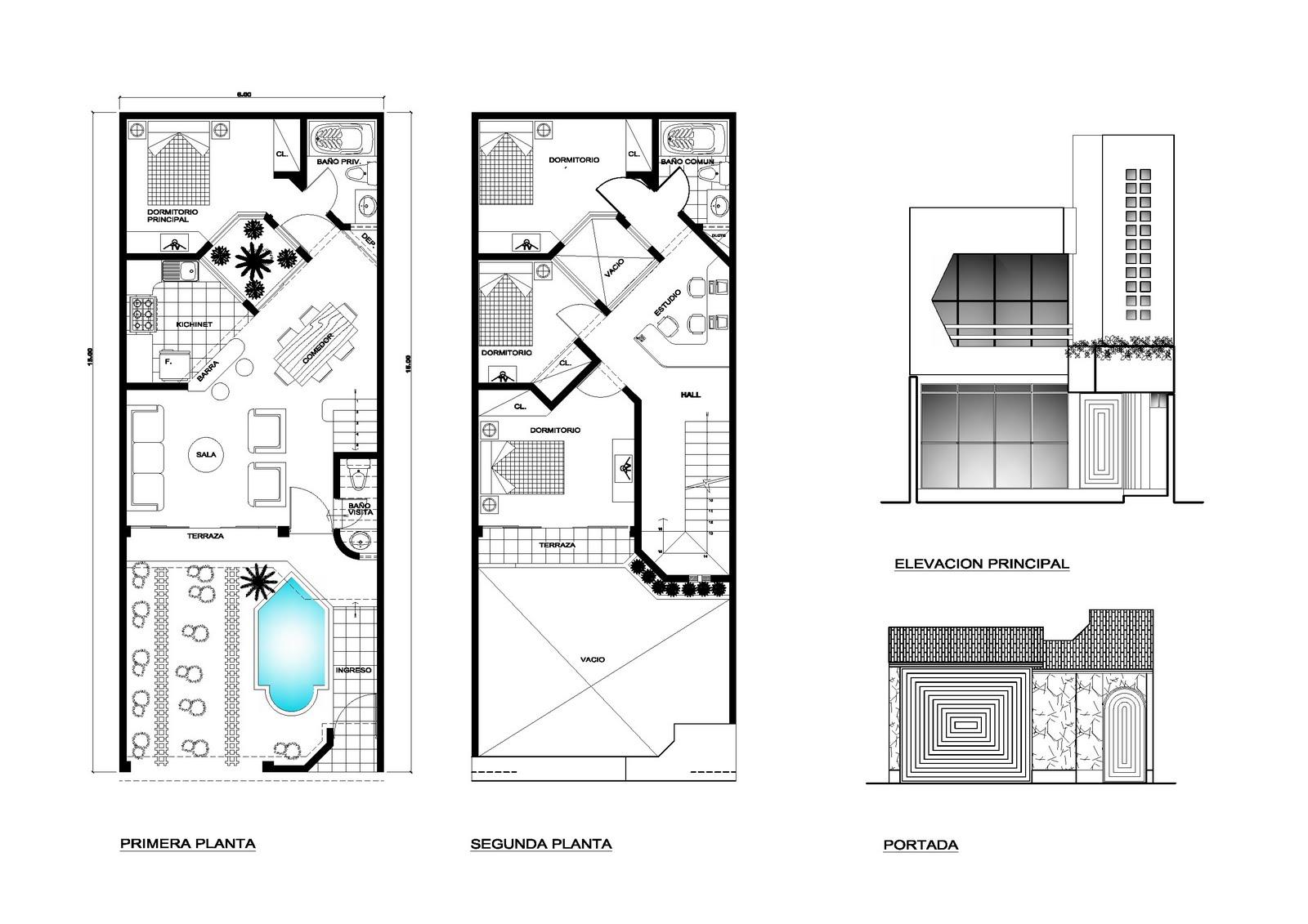 planos de viviendas gratis: plano de vivienda de 6x15m