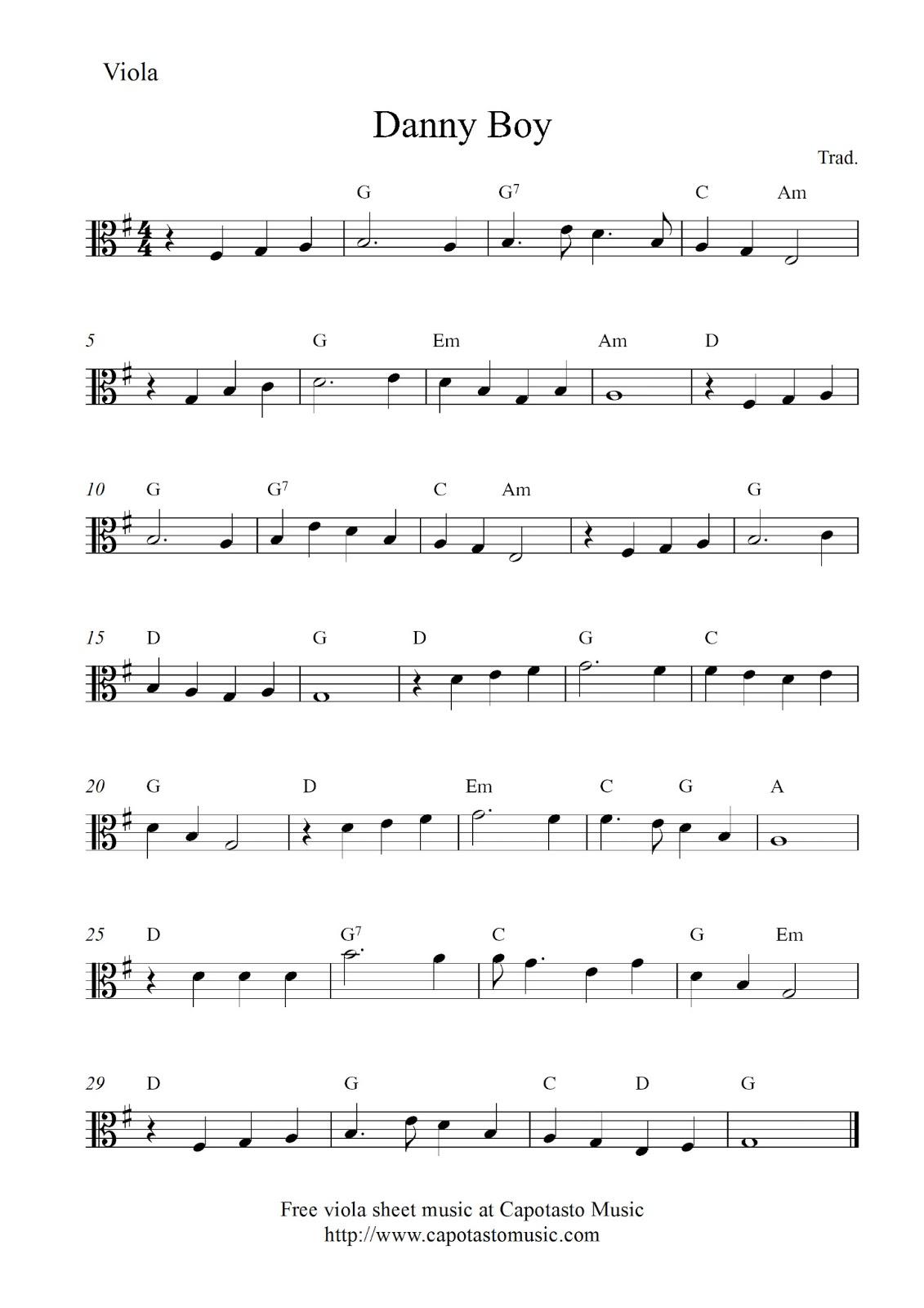 Free viola sheet music score, Danny Boy
