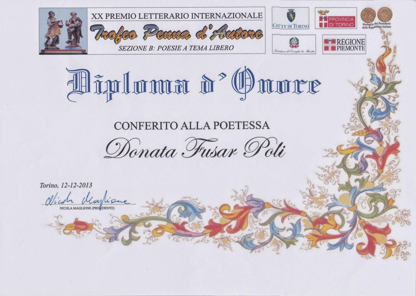 XX Premio Letterario Internazionale - 2013- Antologia in uscita