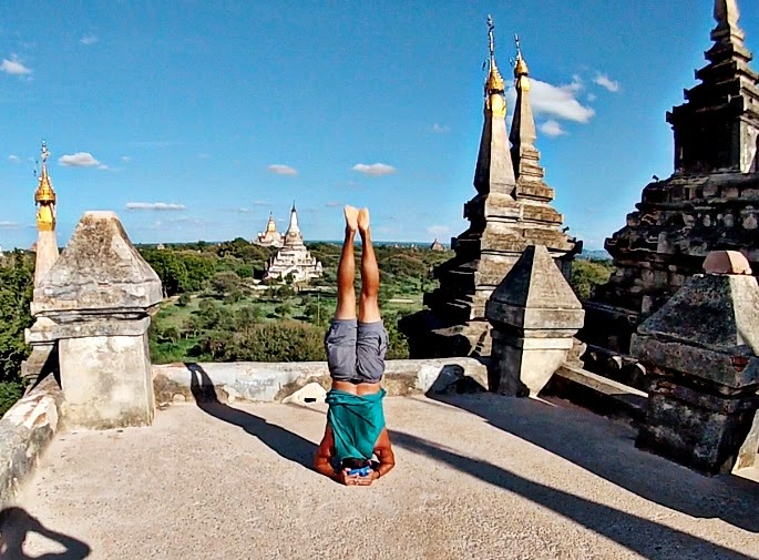 Headstand on Pagoda - Bagan Myanmar