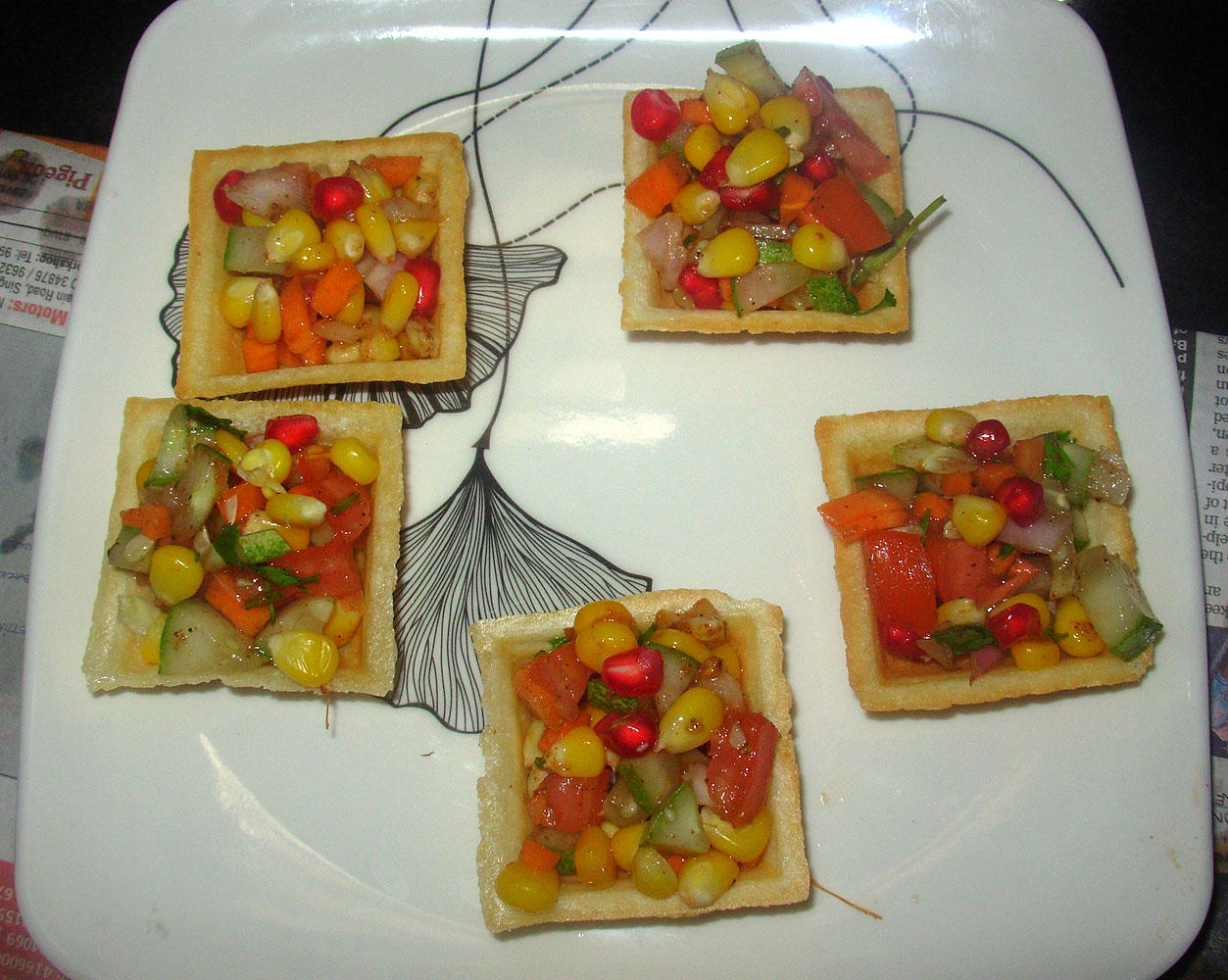 Corn canapes corn sev canapes indian canapes recipe for Canape fillings