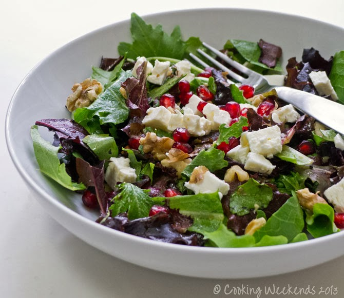 Cooking Weekends: Salad with Pomegranate, Feta & Walnuts