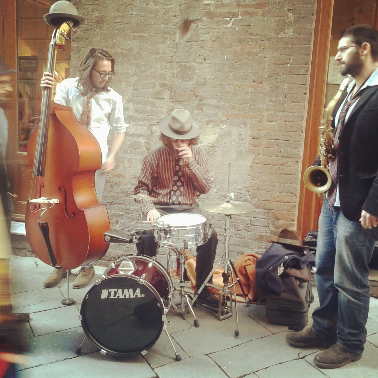 Students of Siena Jazz jammin' it during a vintage street party
