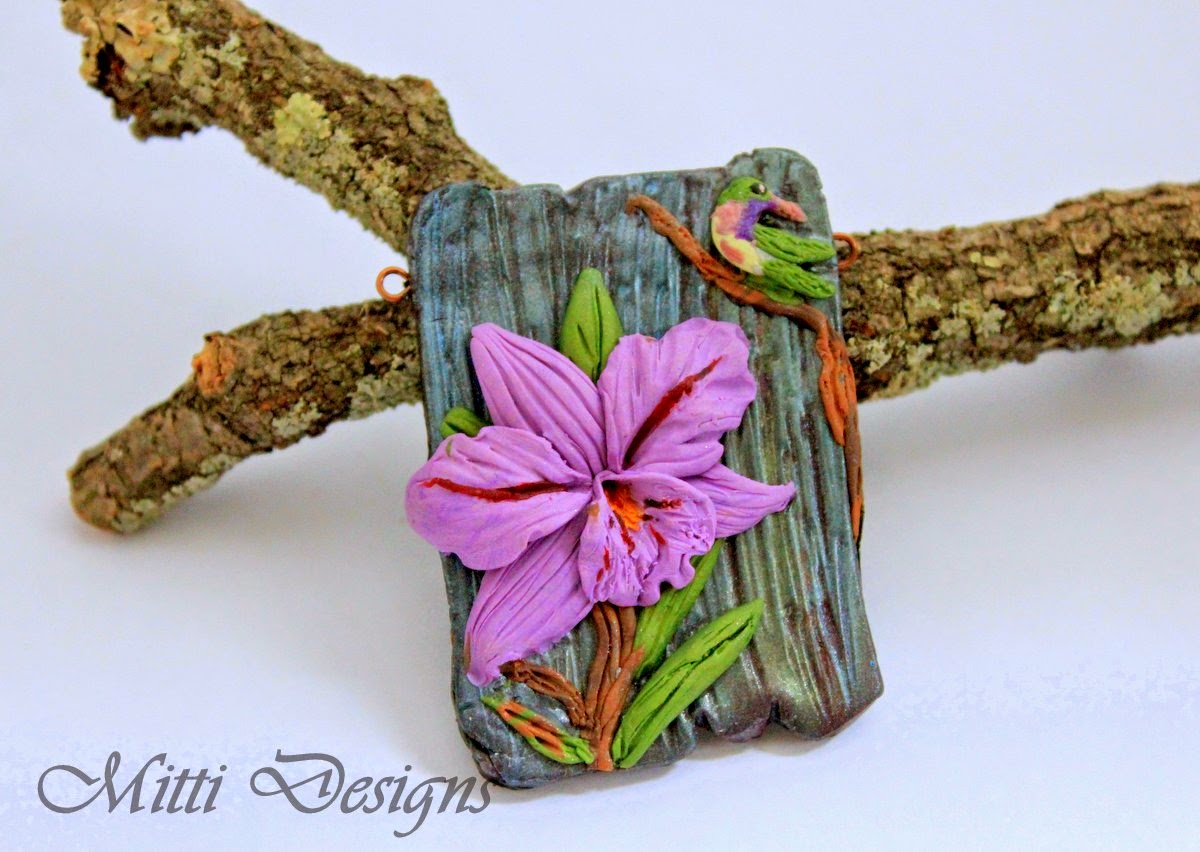 Orchid and Humming bird polymer clay necklace with ombre beads, abs challenge