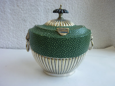 A Superb Edwardian Silver Plate Shagreen Tea Caddy