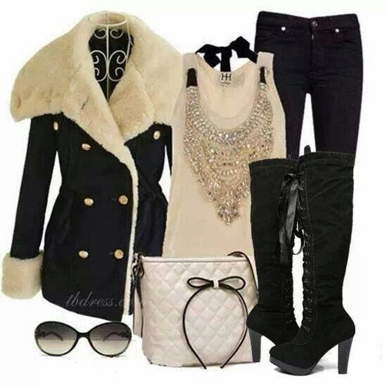 Winter Outfit - Black Fur Jacket, Blouse, Pant, Long boots, Handbag and Glasses