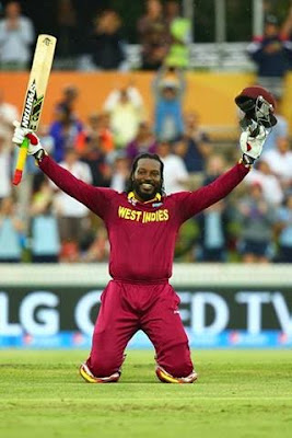 Chris Gayle first to hit 300 runs in tests and 200 plus runs in ODI's