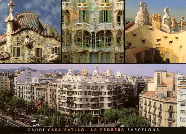several views of Casa Batlló art nouveau style by Gaudi