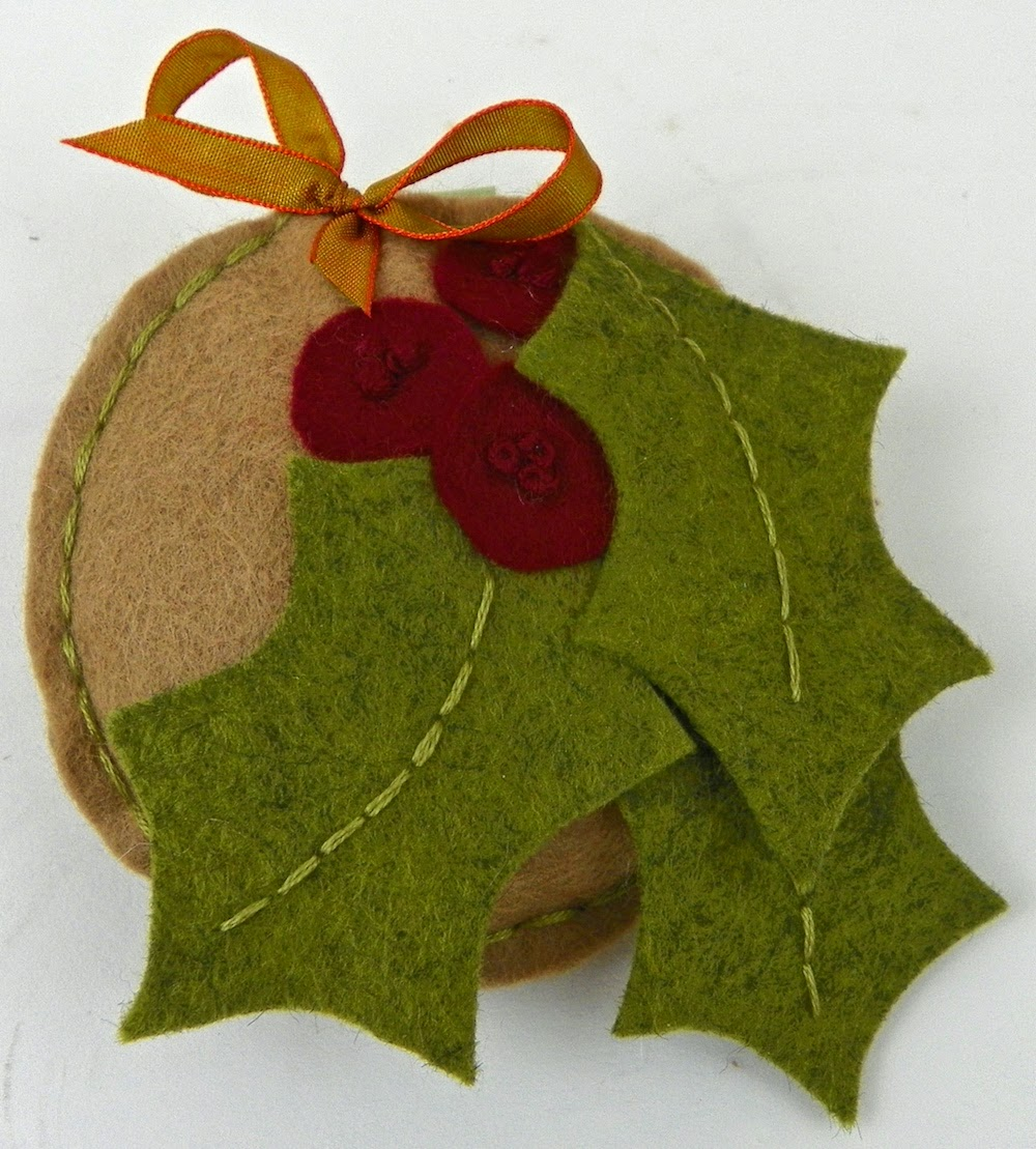 Holly berry felt stuffed holiday ornament