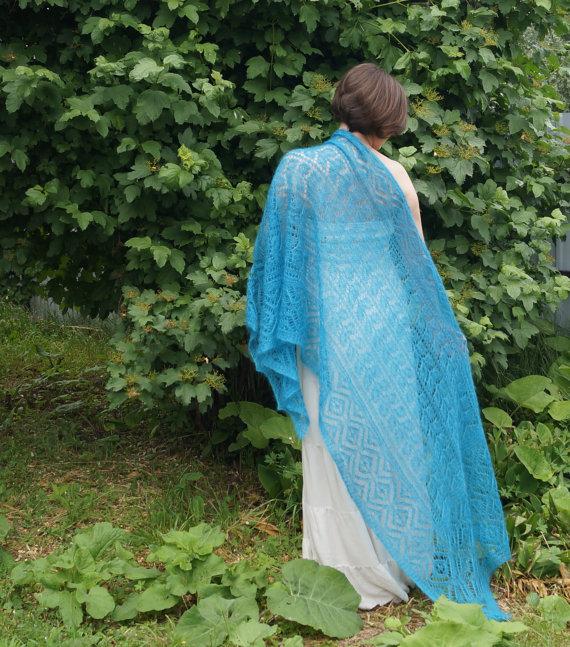 TE KOOP: grote turquoise sjaal.
