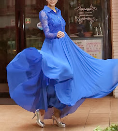Blue Lace Chiffon Lapel Long-sleeved Maxi