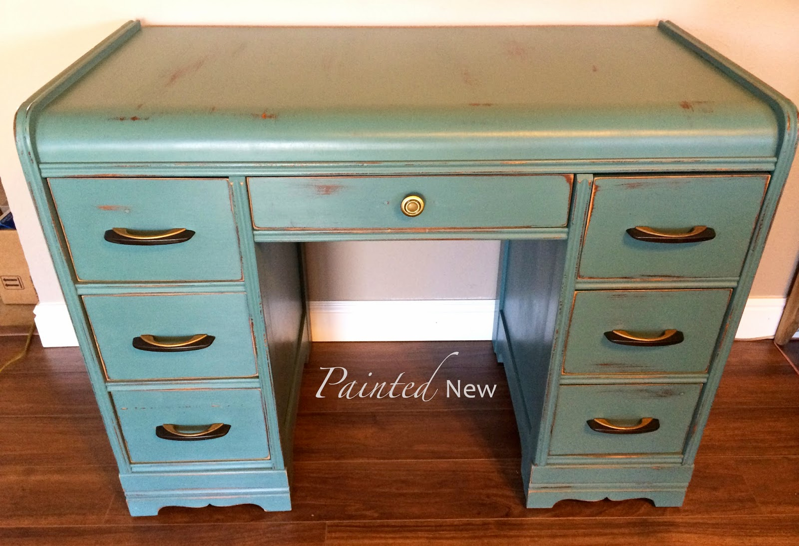 Painted New Art Deco Waterfall Desk