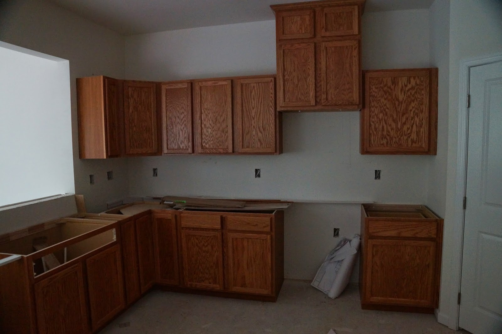 Picture of the kitchen cabinets before the counter is installed