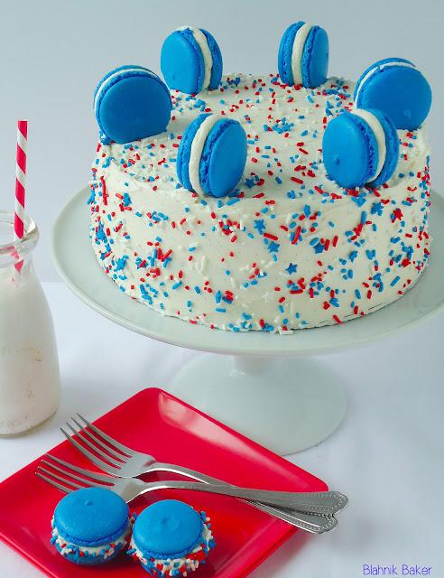 red white and blue cake via Blahnik Baker