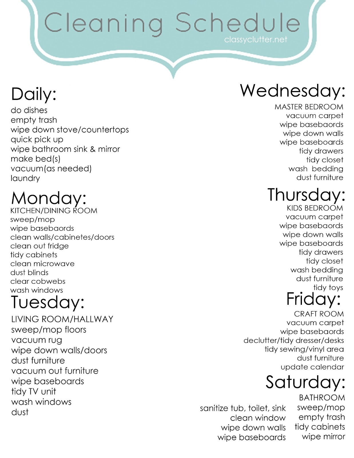 Peaceful image inside weekly cleaning schedule printable