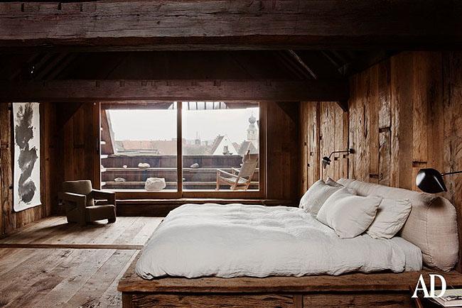 interior rustico minimalista en bélgica dormitorio revestido roble