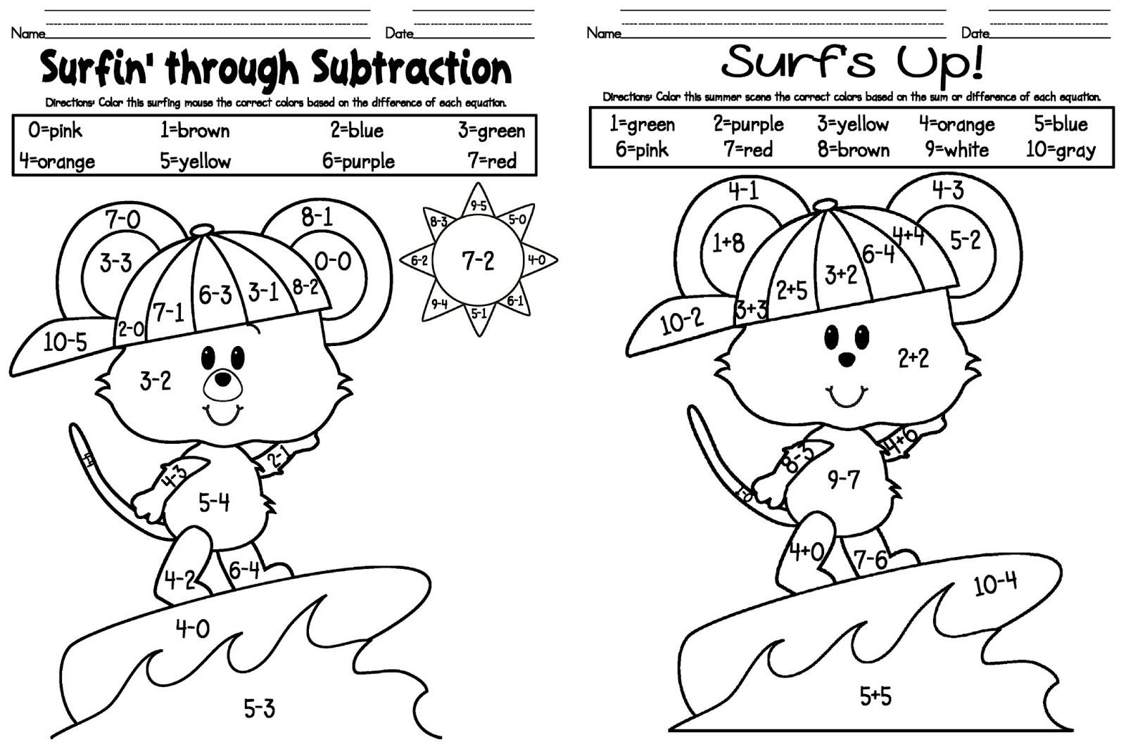 Worksheets Coloring Subtraction Worksheets kelly and kims kindergarten kreations additionsubtraction freebie freebie