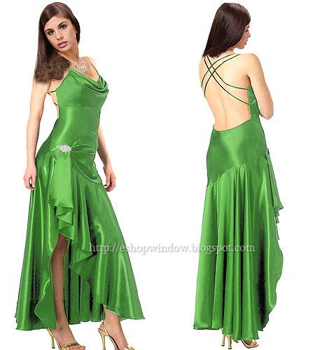 дълга тревисто зелена бална рокля с гол гръб