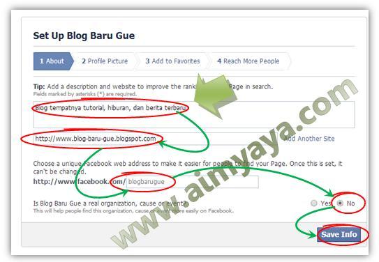 Gambar: Membuat deskripsi, url blog dan url facebook