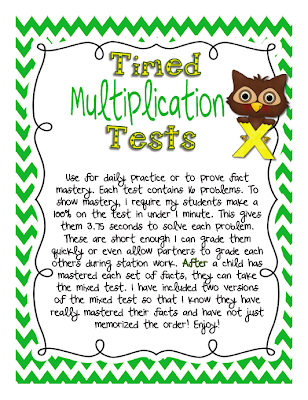 picture of timed tests, multiplication, freebie