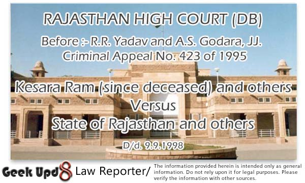 Kesara Ram and others Versus  State of Rajasthan and others, D/d. 9.9.1998 - Rajasthan High Court
