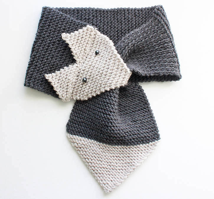 Free Knitting Patterns For Scarves For Beginners : Fox Scarf Knitting Pattern- women & child sizes - Gina Michele