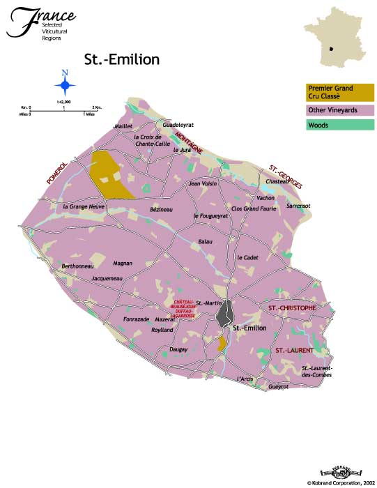 Wine -- Mise en abyme: The St. Emilion wine region St Emilion Map on rheinhessen map, chinon map, st julien bordeaux france map, st nazaire map, pauillac map, margaux map,