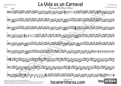 La Vida es un Carnaval Partitura de Tuba en Clave de Fa de Celia Cruz Sheet Music for Tuba in bass clef
