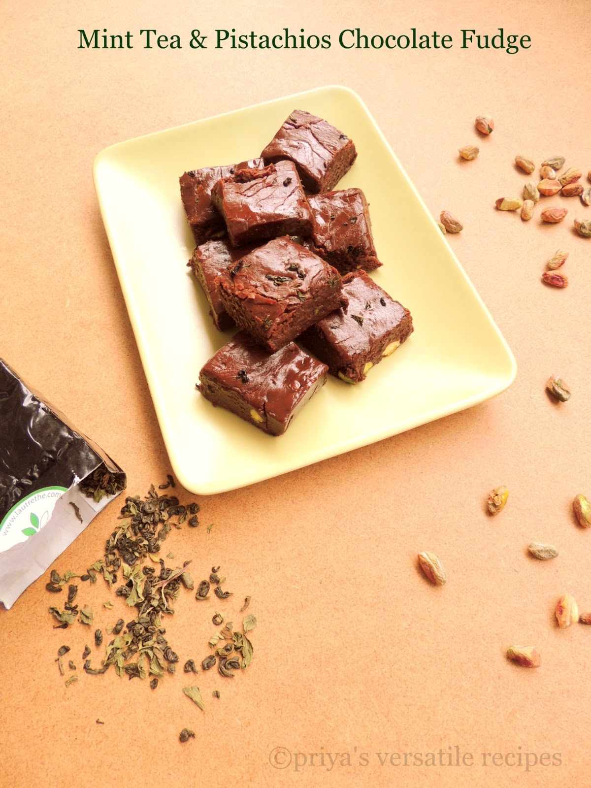 Priya's Versatile Recipes: Mint Tea & Pistachios Chocolate Fudge