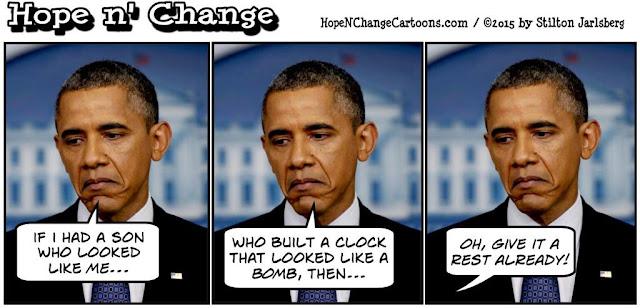 obama, obama jokes, political, humor, cartoon, conservative, hope n' change, hope and change, stilton jarlsberg, ahmed, clock, bomb, irving, terror, scare, tsarnaev, boston