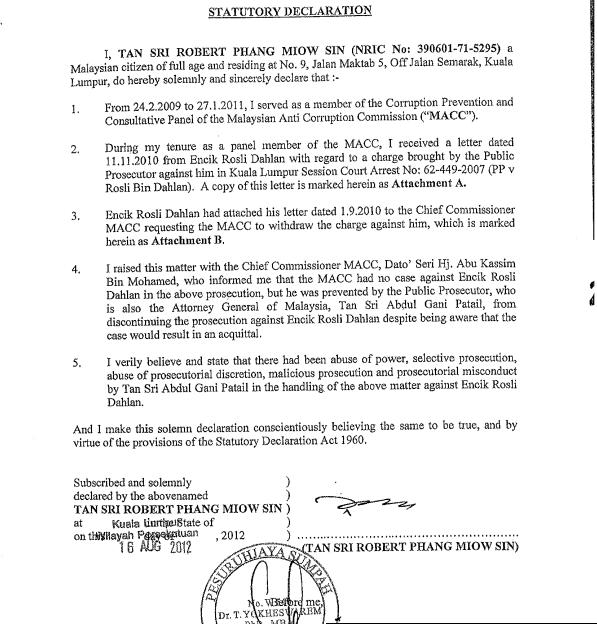 rocky's bru: Robert Phang's Statutory Declaration