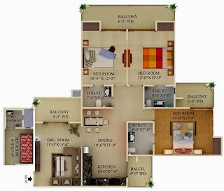 Albaria :: Floor Plans:-3 BHK Super Area - 2364 Sq Ft