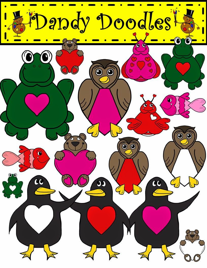 http://www.teacherspayteachers.com/Product/Sweetheart-Critters-Clip-Art-by-Dandy-Doodles-1655869