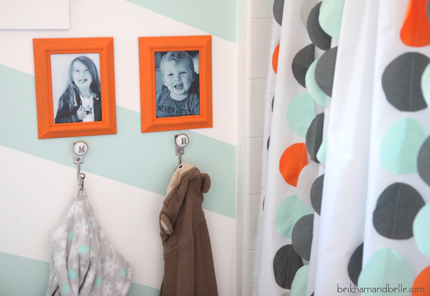 Kids Bathroom Reveal, Mint, Orange & Grey