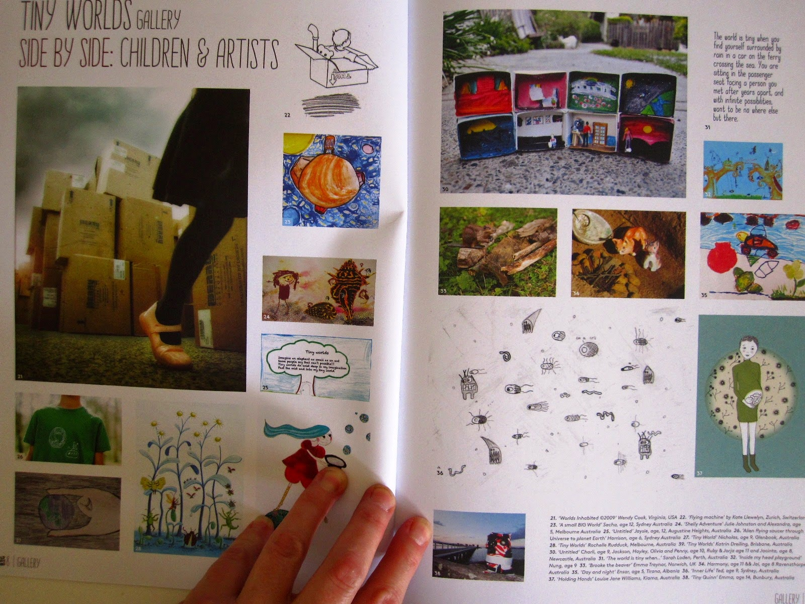 Interior pages of Big Kids Magazine: Tiny Worlds edition showing children's work.